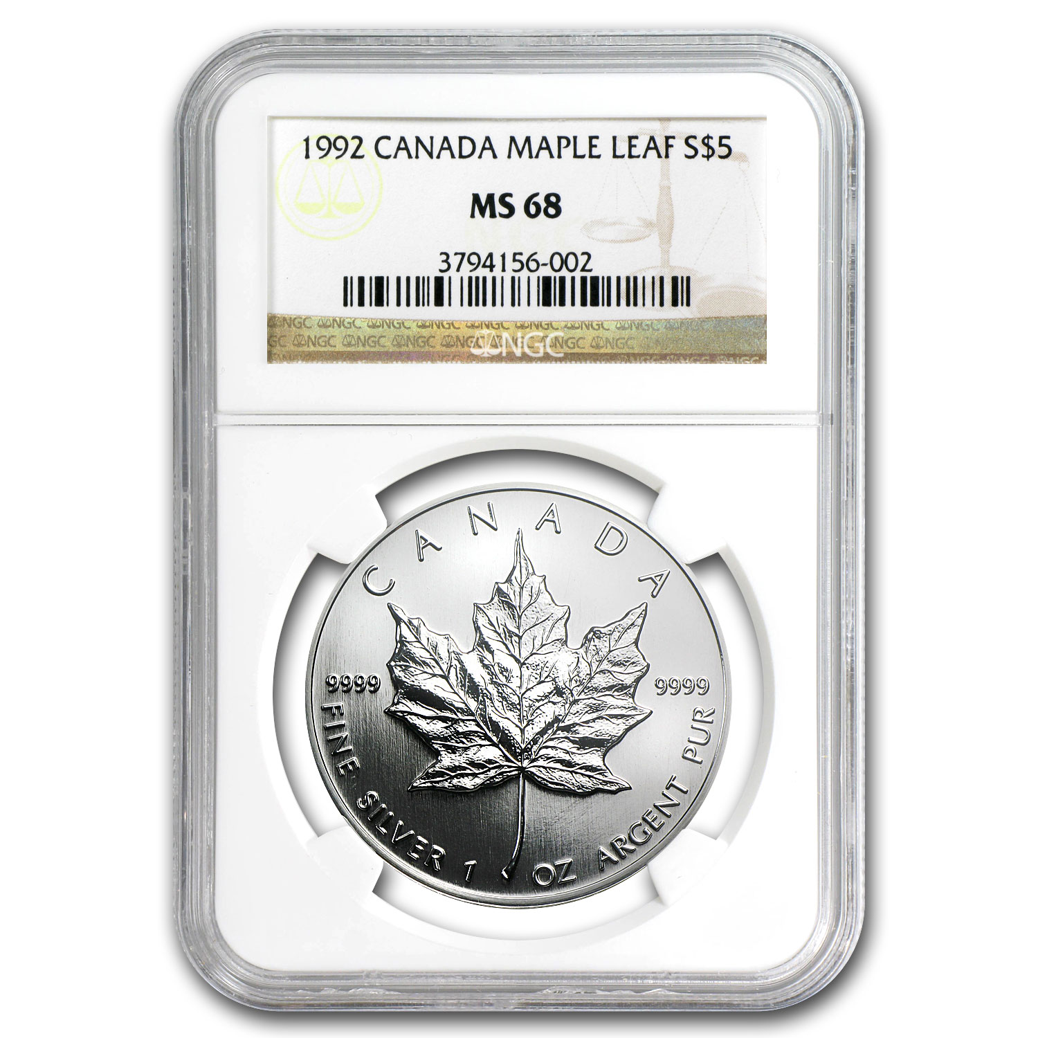 1992 1 oz Silver Canadian Maple Leaf MS-68 NGC
